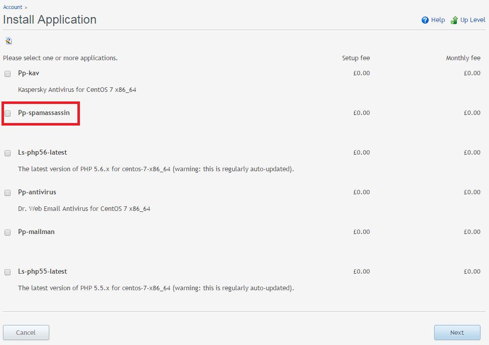 Install application SpamAssassin