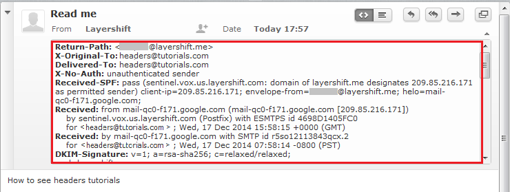 View the full email headers depending on your mail client