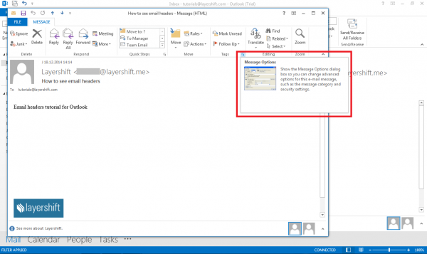 outlook message options