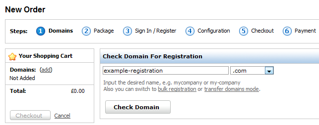 Check domain for registration
