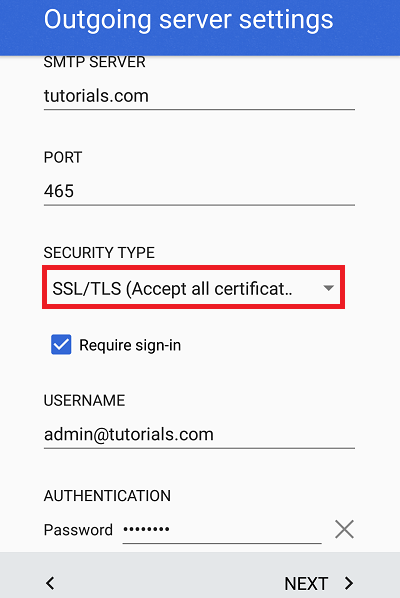Configure Plesk mail in Android Step 8