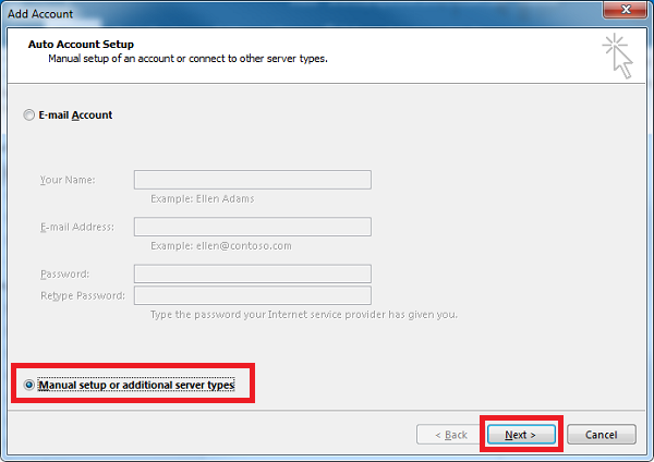 How to configure Plesk mail in Outlook- Step 3