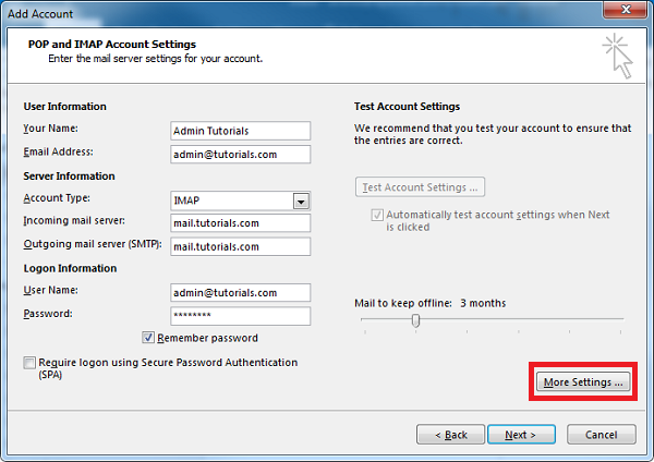 How to configure Plesk mail in Outlook- Step 5