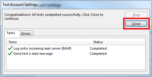 How to configure Plesk mail in Outlook- Step 7