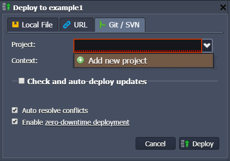 Deploy a PHP application from git or SVN - Layershift KB